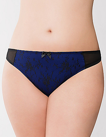 Lace overlay thong panty