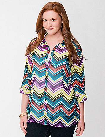 Chevron chiffon soft shirt