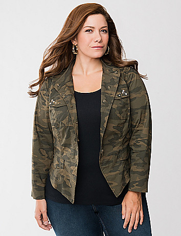 Embellished camo jacket