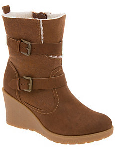 Shearling wedge ankle bootie by LANE BRYANT