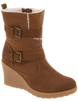Shearling wedge ankle bootie