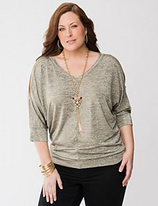 3/4 sleeve metallic wedge tee