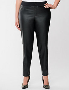 Faux leather front skinny pant by LANE BRYANT