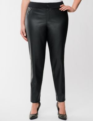 Faux leather front skinny pant