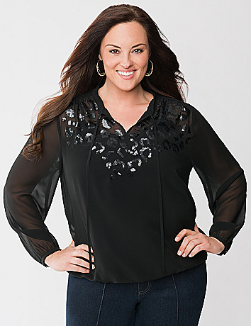 Lane Collection sequined peasant top