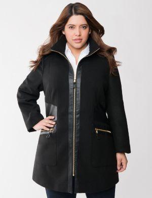 Faux leather trim coat