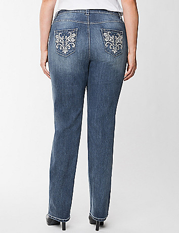 Pleather trim straight leg jean