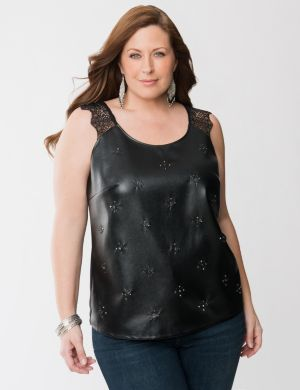 Faux leather & lace tank