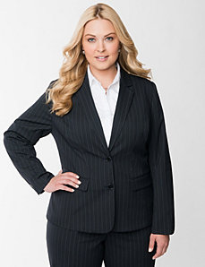 Tailored Stretch fitted pinstripe jacket by LANE BRYANT