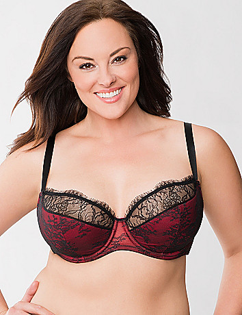 Lace overlay French full coverage bra