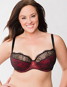Lace overlay French full coverage bra by LANE BRYANT