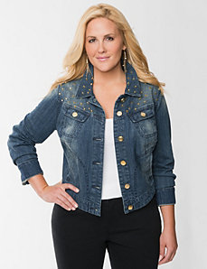 Studded high-low denim jacket by LANE BRYANT
