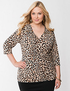 Animal print surplice top with zippers
