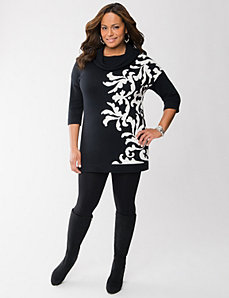 Scroll cowl neck sweater tunic