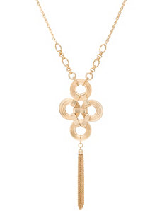 Lane Collection disc & tassel necklace