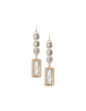 Lane Collection linear mirrored stone earrings