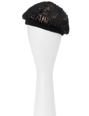 Metallic faux fur beanie