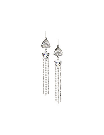 Cubic zirconium chain drop earrings by Lane Bryant