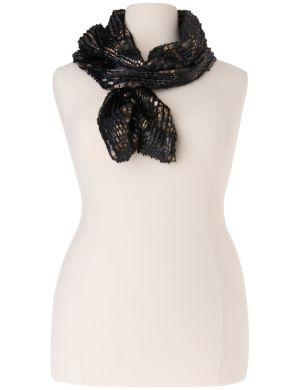 Metallic faux fur scarf