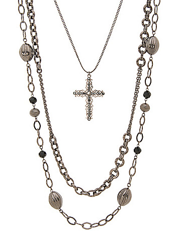 Long nested cross necklace by Lane Bryant