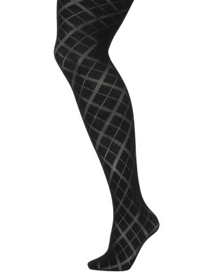 Sheer argyle tights