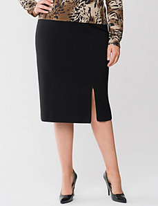 Lane Collection zipper slit ponte skirt