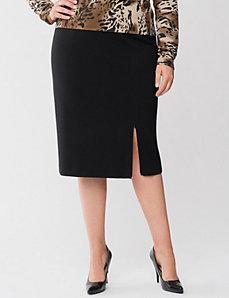 Lane Collection zipper slit ponte skirt
