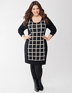 Metallic grid sweater dress