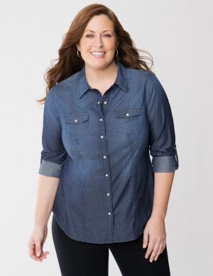 Shadow stripe denim shirt