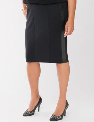 Ponte pencil skirt with faux leather