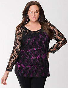 Lane Collection tiered lace top