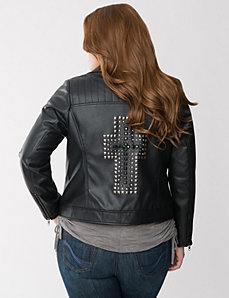 Cross embellished moto jacket