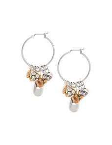 Mirrored bead hoop earrings by Lane Bryant