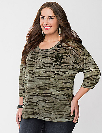 Camo high-low tee