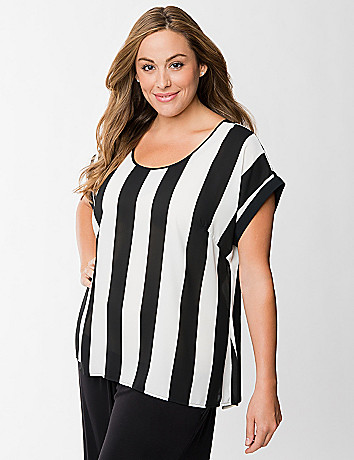 Striped split back tee