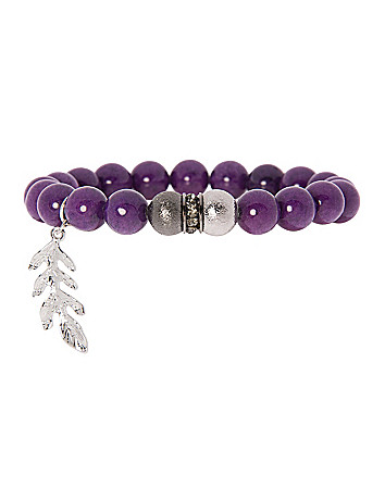 Semi-precious bracelet with feather charm by Lane Bryant