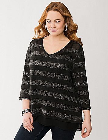 3/4 sleeve open knit top