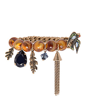 Beaded bird charm bracelet by Lane Bryant