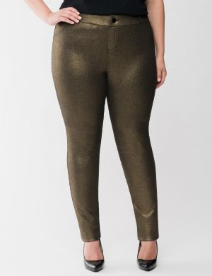 Metallic French terry skinny pant