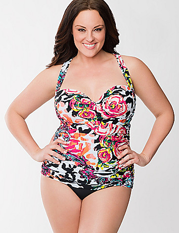 Floral maillot swimsuit with built in balconette bra