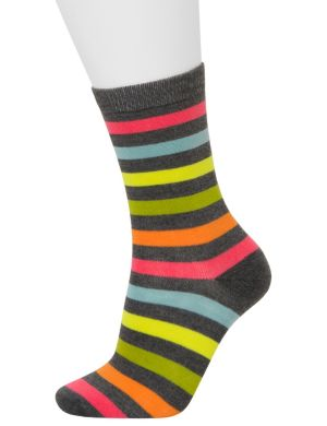 Stripes & solid crew socks 2-pack