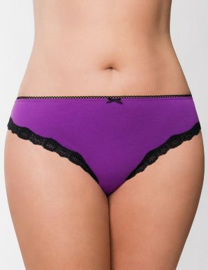 Sassy cotton thong panty with lace