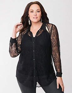 Lane Collection cut-out lace shirt