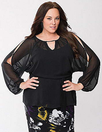 Lane Collection split sleeve drama top