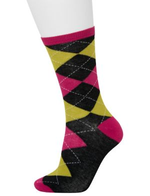 Argyle & solid crew sock 2-pack