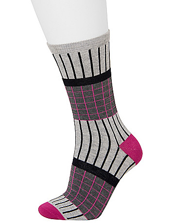 Grid & solid crew sock 2-pack by Lane Bryant