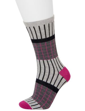 Grid & solid crew sock 2-pack