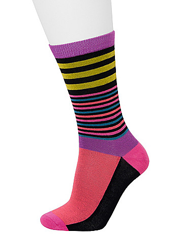 Striped & solid crew sock 2-pack by Lane Bryant