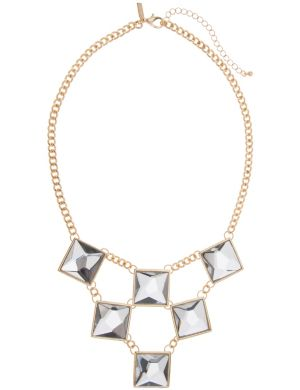 Lane Collection geo glass stone necklace