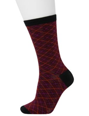 Plaid & solid crew socks 2-pack